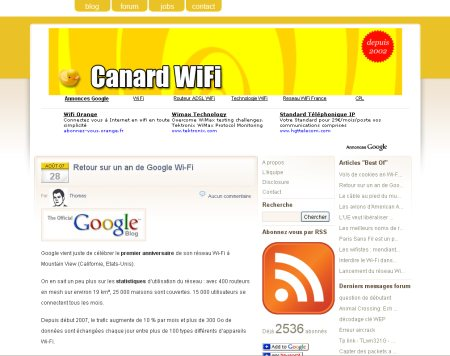 Capture d'écran Canard WiFi
